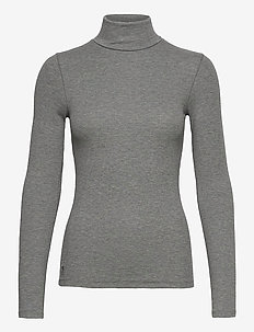 36/1'S TENCEL RIB-LSL-KNT - turtlenecks - boulder grey heat