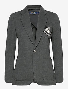 Crest-Patch Cotton-Blend Blazer - tailored blazers - onyx heather