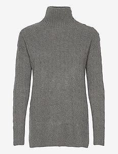 Buttoned-Placket Turtleneck - turtlenecks - antique heather