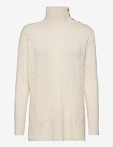 Buttoned-Placket Turtleneck - turtlenecks - cream