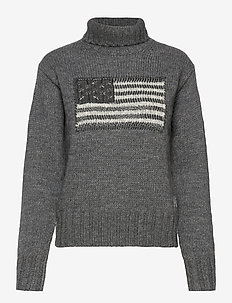Flag Turtleneck Sweater - turtlenecks - grey multi