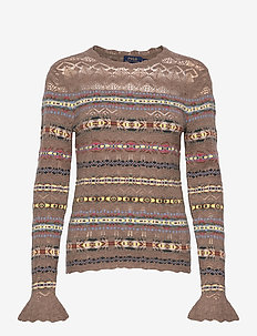 Fair Isle Crewneck Sweater - jumpers - tan multi
