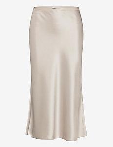 DBL FACE TRI SATIN-SKT - maxi skirts - silver grey