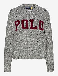 Logo Wool-Blend Sweater - trøjer - grey donegal/wine