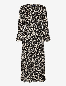 Floral Wrap Dress - everyday dresses - 766 black/white i