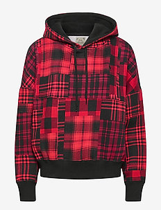 PRNTD LTWT SEAS FLC-LSL-KNT - hoodies - red plaid multi