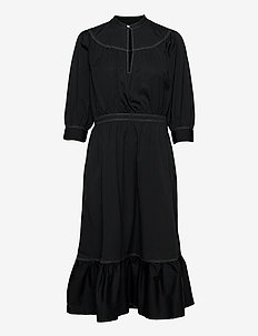 Cotton Broadcloth Dress - midi kjoler - polo black