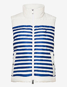 Belmont Striped Down-Filled Vest - puffer vests - white/blue stripe