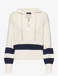 Cotton Lace-Up Sweater - jumpers - cream/navy