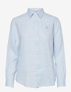 Relaxed Fit Linen Shirt - langærmede skjorter - beryl blue