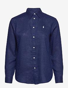 Relaxed Fit Linen Shirt - langærmede skjorter - navy