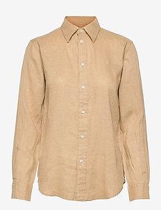 Relaxed Fit Linen Shirt - langærmede skjorter - polo tan