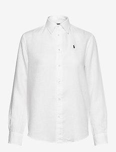 Relaxed Fit Linen Shirt - langærmede skjorter - white