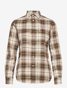 Classic Fit Plaid Shirt - langærmede skjorter - 938 brown/tan