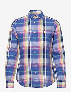 Classic Fit Plaid Linen Shirt - long-sleeved shirts - 943 blue/pink
