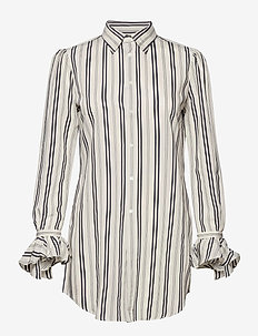Striped Ruffle-Trim Shirt - långärmade skjortor - 633 white/rl navy
