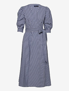 Cotton Gingham Wrap Dress - everyday dresses - 886 blue/white pl