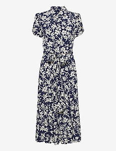 Floral A-Line Dress - shirt dresses - 883 navy/cream fl