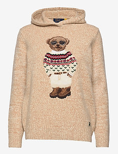 Polo Bear Wool-Blend Knit Hoodie - jumpers - oatmeal multi