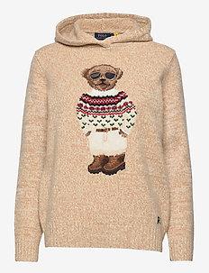 Polo Bear Wool-Blend Knit Hoodie - trøjer - oatmeal multi