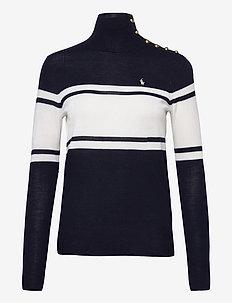 Buttoned-Placket Wool Turtleneck - polotröjor - navy/cream