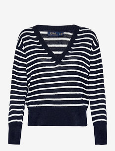 Striped Linen Sweater - tröjor - hunter navy/bone