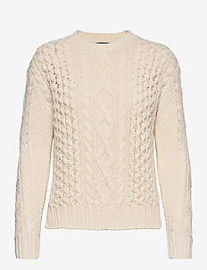 Aran-Knit Cotton Sweater - jumpers - cream