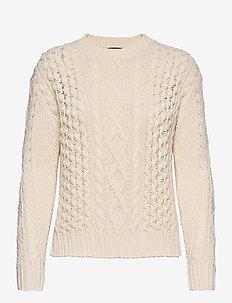 Aran-Knit Cotton Sweater - neulepuserot - cream