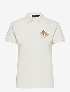 Beaded-Logo Polo Shirt - polo shirts - deckwash white