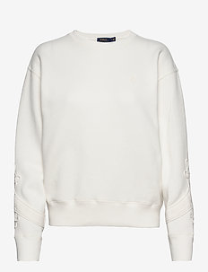Soutache-Trim Fleece Sweatshirt - sweatshirts - deckwash white