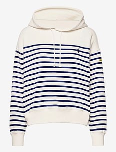 Striped Fleece Hoodie - hoodies - deckwash white