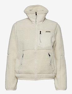 Leather-Trim Fleece Zip Jacket - mid layer jackets - clubhouse cream