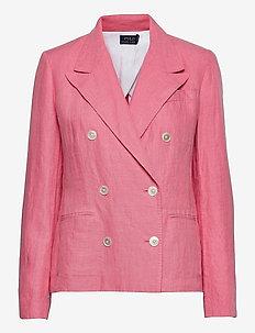 Double-Breasted Linen Blazer - casual blazere - ribbon pink