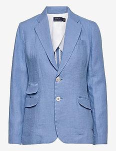 Single-Breasted Linen Blazer - casual blazere - chambray blue