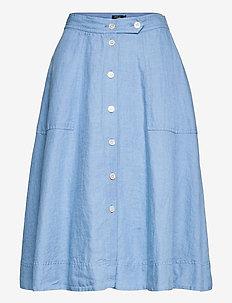 Buttoned Linen Skirt - midinederdele - chambray blue