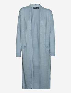 Linen Open-Front Cardigan - cardigans - light blue