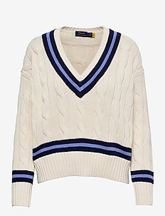 Cable-Knit Cricket Sweater - jumpers - cream w/ navy str