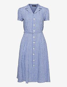 Gingham Linen Shirtdress - sommarklänningar - 918 medium blue/