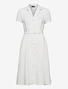 Buttoned-Placket Linen Dress - sommerkjoler - white