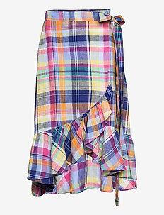 Madras Linen Wrap Skirt - omlottkjolar - 533 blue/ yellow