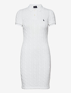 Cable-Knit Polo Dress - everyday dresses - white