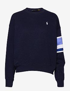 Striped-Trim Fleece Sweatshirt - sweatshirts - cruise navy
