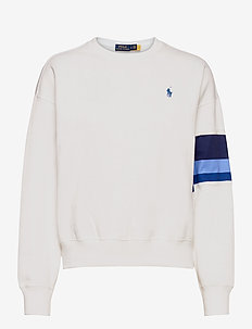 Striped-Trim Fleece Sweatshirt - sweatshirts - white