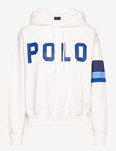 Striped-Trim Fleece Hoodie - hoodies - white