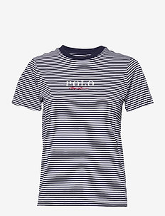 Striped Logo Cotton Tee - t-shirts - cruise navy/white