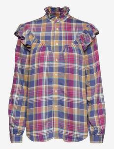 Ruffle-Trim Plaid Shirt - chemises à manches longues - 825 blue/magenta