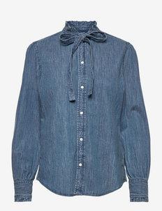 Denim Tie-Neck Shirt - koszule z długimi rękawami - dark indigo denim