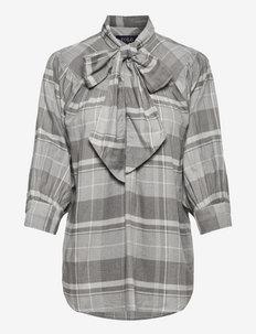 Plaid Tie-Neck Blouse - chemises à manches longues - 837 heather grey/
