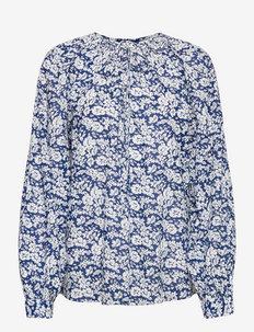 Floral Cotton Blouse - langärmlige blusen - 881 blue cream fl
