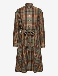 Plaid Wool Shirtdress - sukienki koszulowe - 957 brown tan mul